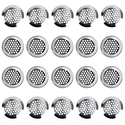 Rejilla de Ventilación Redondo 35mm Rejillas Ventilacion Acero Inoxidable para Gabinete Guardarropa Armario de Zapatos Plata 20 Piezas
