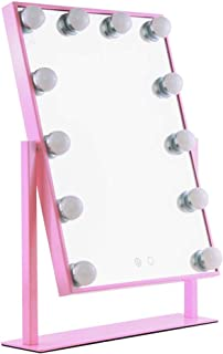 AINIYF Vanity Mirror HD Cosmetic Mirror with Lights Desktop LED Mirror with 12 Big Bulbs Touch Screen Adjustable Brightness (Color : Pink)
