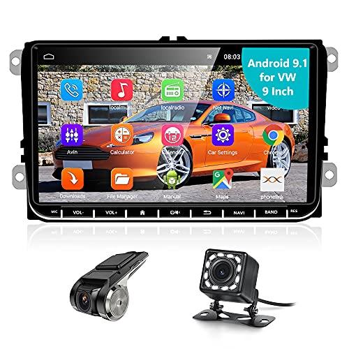 Podofo Android 9.1 Autoradio 2 Din con GPS Navigazione/WIFI per VW Skoda Golf Seat POLO , 9 Pollici Touch Screen Auto Radio con Bluetooth/RDS+ Telecamera Posteriore e Registratore di Guida