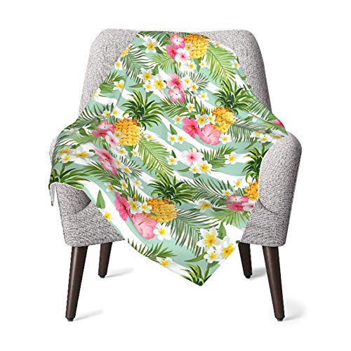 Pineapple and Hawaiian Flowers Throw Blanket Baby Boys Girls Double Layer Bassinet Blanket Receiving Blanket One Size