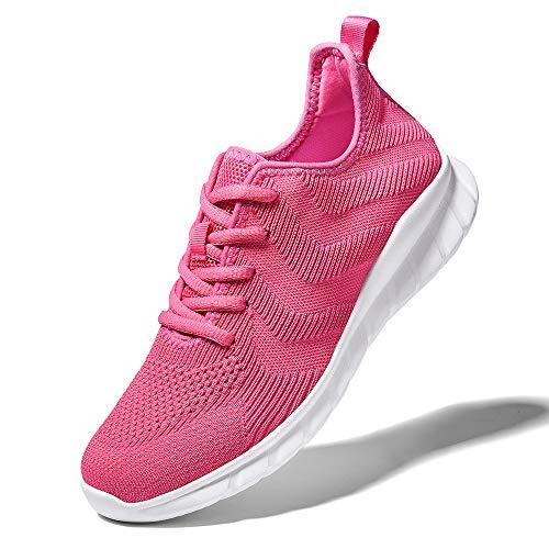 LK LEKUNI Zapatillas Running Hombre Mujer Zapatos Deporte para Correr Trail Fitness Sneakers Ligero Transpirable-Rosa roja03-42
