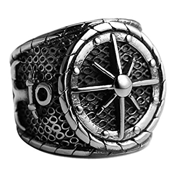 HZMAN Men s Vintage Nautical Ship Wheel Stainless Steel Anchor Nautical Compass Ring