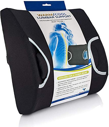 Vaunn Medical Lumbar Back Support Cushion Pillow with Warm/Cool Gel Pad and Removable Firm Insert, Dark