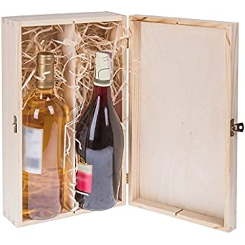 Amazinggirl Cajas de Madera para vinos - Estuches Vino Caja Madera Regalo con Tapa Pintar decoupage para Dos Botellas: Amazon.es: Hogar