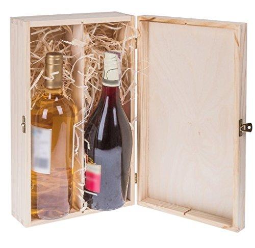 Amazinggirl Weinbox Geschenk-Box Holz Holzbox mit Deckel - Holzschatulle Holzschachtel Schatulle Weinkiste Holzkiste für 2 Wein-Flaschen
