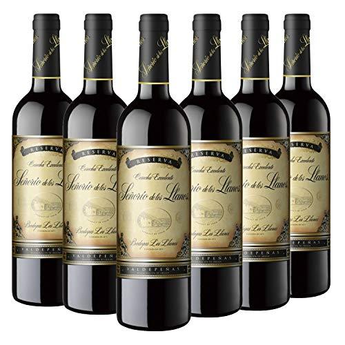 Señorío de los Llanos Reserva - Vino Tinto D.O. Valdepeñas - Caja de 6 Botellas x 750 ml
