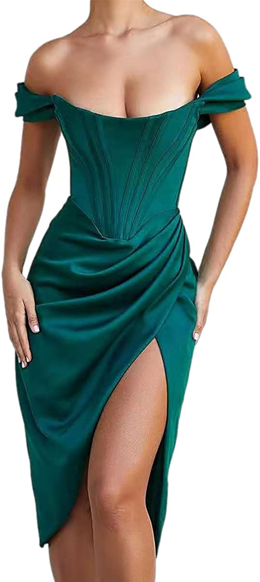 Womens Sexy Off Shoulder Side Split Dress Ruched Elegant Wedding Guest Evening Party Clubwear Midi Dresses