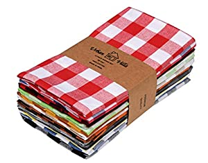 Urban Villa,Buffalo Check Multi Color set of 12 Dinner Napkins,Premium Quality,100% Cotton, Size 51 X 51 CMS, Over sized Cloth Napkins with Mitered Corners,Ultra Soft,Daily Use ,Durable Hotel Quality
