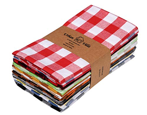 Urban Villa,Buffalo Check Multi Color set of 12 Dinner Napkins,Premium Quality,100% Cotton, Size 20x20 inches, Over sized Cloth Napkins with Mitered Corners,Ultra Soft,Daily Use,Durable Hotel Quality