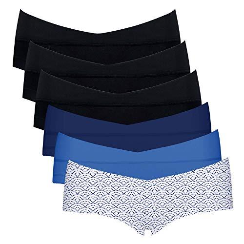 Intimate Portal Algodón Braguitas Ropa Interior Embarazo Premamá de Bajo el Vientre Shorts Azul Azul Olas Trío Negro (PK de 6) L