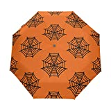Travel Parapluie, Spider Web Auto Open Parapluie Compact Folding Sun Rain Protection, Windproof for Kids Women Men