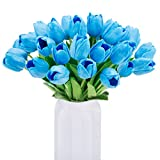 BOMAROLAN Artificial Tulip Fake Holland Mini Tulip Real Touch Flowers 24 Pcs for Wedding Decor DIY Home Party (Blue)