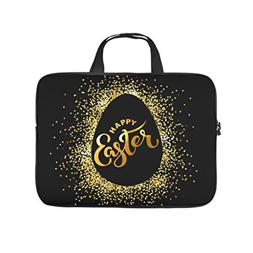 Happy Easter Gold Black Egg Printed Laptop Bag Protective Case Durable Neoprene Laptop Bag Case Customized Laptop Sleeve Case for Girls Boys