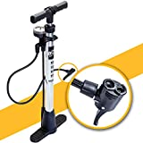 BoG Products Bicycle Floor Pump with Pressure Gauge for Presta & Schrader valves Large Diameter for Quicker Inflation 75PSI Rating Space Saving Folding Base Lifetime Replacement Guarantee