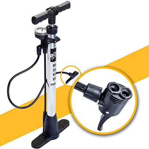 Bicycle Floor Pump with Pressure Gauge by BoG Products