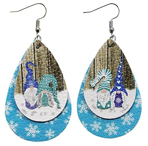 Weihnachten Leder Ohrringe 2 Schicht Tropfen Rot Grün Weihnachtsbaum Alter Mann Schneemann Ohrringe Weiblich