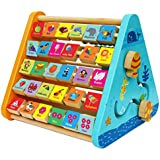 TOWO Wooden Activity Centre Triangle Toys - Wooden Alphabet Blocks Abacus Clock - Activity Cube for Toddlers 5 in 1-Wooden Activity Toys for Babies Montessori Learning-Wooden Toys for 1 Year Old