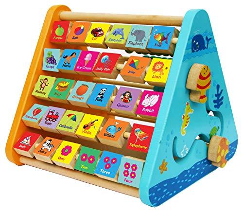 Toys of Wood Oxford TOWO Centro de Actividades de Madera-con Bloques de Madera del Alfabeto, Cuentas de ábaco, Reloj de Aprendizaje, Laberinto de Madera y una Pizarra - 5 en 1 Centro de