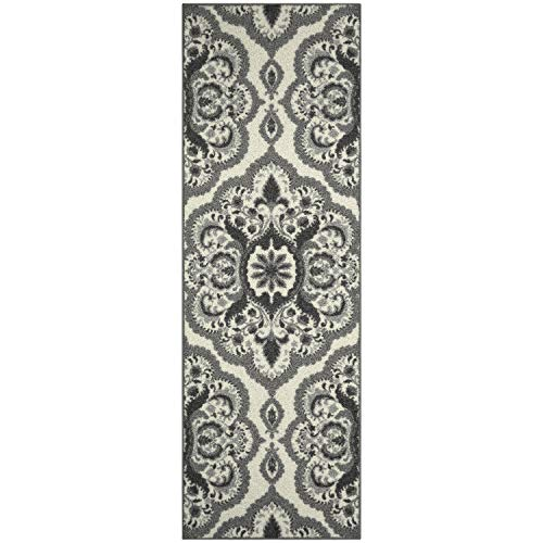 Vivian Medallion Runner Rug Non Slip Hallway Entry Carpet [Made in USA], 2 x 6, Grey
