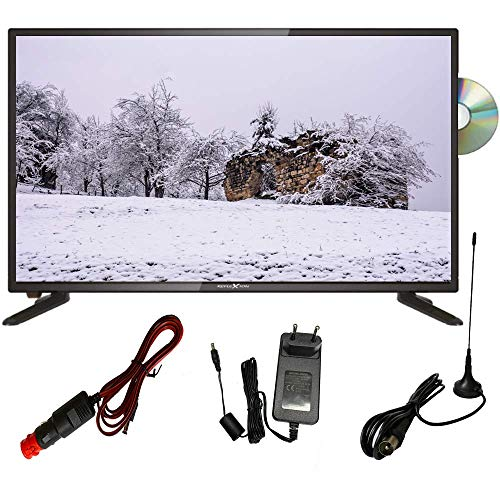 REFLEXION 24 Zoll LED Fernseher Widescreen (60 cm), für Wohnmobile mit DVB-S2/T2/C, DVD-Player, Triple Tuner, 12/24/230 Volt (Full HD, HDMI, USB, EPG, CI+, DVB-T Antenne), Schwarz [Energieklasse F]