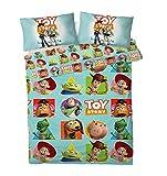 Disney Toy Story - Juego de Funda de edredón Reversible con Funda de Almohada a Juego - con Woody, Buzz y Sus Amigos, poliéster, Toy Story Patch, Doublé
