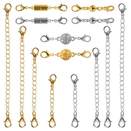 TIMESETL Magnetische Schmuckverschlüsse und Verlängerungskette Halskette Extender, Magnetverschlüsse und Verschiedene Größen Kettenverlängerer für Halskette Armband Fußkette (Gold + Silber)