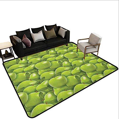 MsShe Slaapkamer woonkamer bescherming mat Appel, Landbouw Oogst Patroon met Granny Smith Apple Tekenen Herfst Fruit, Apple Green Fern Groen