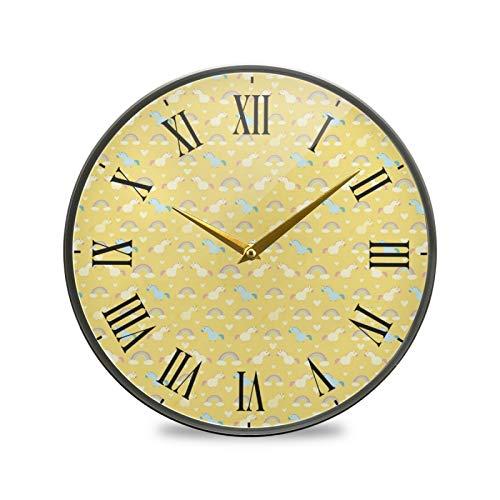 Unicornio De Arte Amarillo Arte Reloj de Pared Silencioso Decorativo Relojs para Niños Niñas Cocina Hogar Oficina Escuela Decoración