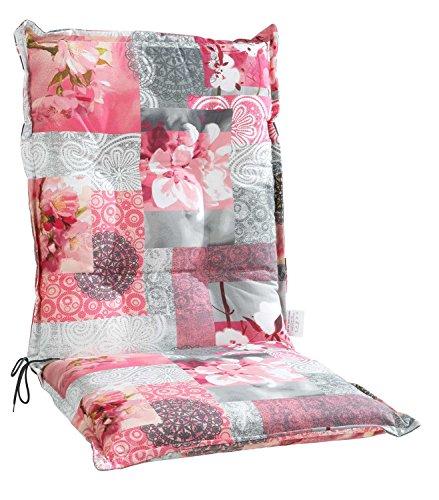 Sesselauflage Sitzpolster Gartenstuhlauflage für Mittellehner | B 50 cm x L 110 cm | Grau-Rosa | Baumwolle