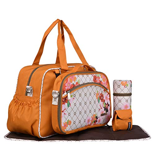 My Milestones Duo Detach 2-in-1 Baby Diaper Bag|Mothers Bag with Changing Mat- Orange Floral
