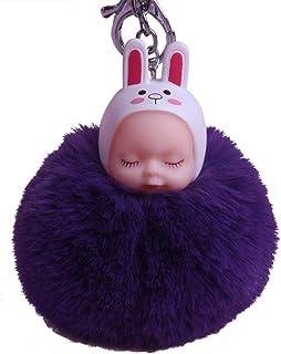COMVIP Rabbit Ear Baby Pendant Women Bag Keychain Ball Pom Pom Keyring