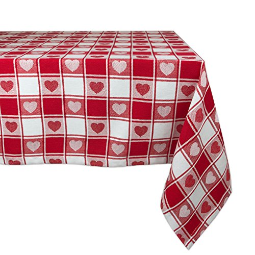Red White Tablecloth Checkered with Heart Shapes
