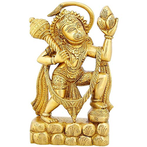 Fasherati Statue Religieuse en Laiton Hanuman Monkey God Idol Hindou pour Puja 21,6 cm, 2,5 kg