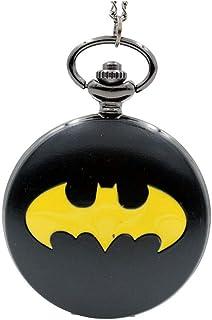 HAI RONG Montre de Poche rétro Grande Montre de Poche Batman Montre de Poche rétro à Quartz avec chaîne et Collier de Mont...