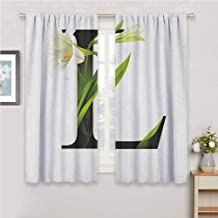 GUUVOR Letter L Room Darkened Curtain Conceptual ABC Typography Capital L with Lily Flourish Floral Natural Grace Insulated Room Bedroom Darkened Curtains W54 x L84 Inch Green White Black
