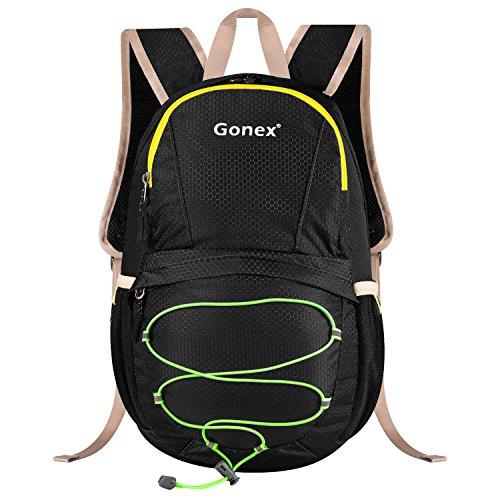 Gonex–Sacchetti Zaino per escursionismo zaino di sport sacchetto impermeabile sacchetti di trekking 15L con custodia di pioggia, nero, Taglia unica