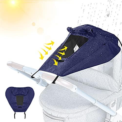 Copertura Parasole Passeggino, Universale Capottina Parasole Passeggino, Anti-UV per Passeggini con Lucernario, Impermeabile Passeggino Telo Parasole, con protezione UV 50+ (Blu)