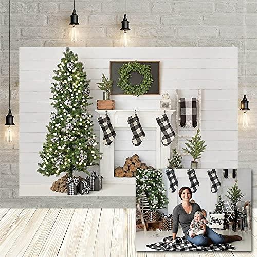 Fondos de fotografía árbol de Navidad Pared de Madera Blanca Chimenea Calcetines Guirnalda Retrato de bebé Fondo Estudio fotográfico decoración Vinyl-250x180cm