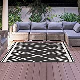 Alfombra de estilo berebera, 60 x 110 cm, rectangular AF Aribia, reversible, color negro terraza, para jardín apta para calefacción por suelo radiante.