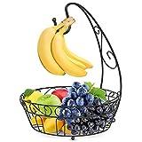 Frutero con gancho para plátanos, frutero de metal con soporte para plátanos, frutas, aperitivos, caramelos, plato, decoración para el hogar, cocina, almacén, color negro