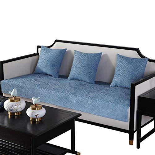 HXTSWGS Juego de Fundas de sofá Funda de sofá de Color sólido Funda de sofá elástica para Sala de Estar Esquina de Mascotas Chaise Longue en Forma de L Toalla de sofá-Azul_70x210cm 27x82in