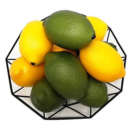 J-Rijzen 12pcs Fake Lemon Artificial Fruits Vivid Green and Yellow Lemon Mixed Set for Home Fruit Shop Supermarket Desk Office Restaurant Decorations Or Props