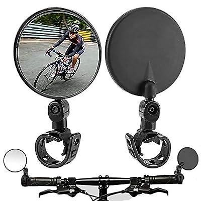 N\O Bike Mirror,2 Pack Bicycle Mirrors for Handlebars,360 Rotatable Handlebar Bike Rear View Mirrors,Upgrade Shockproof Convex Mirror for Road Bike/MTB/Off-Road Bike/Fixed Gear Bike Handlebars