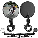 Bike Mirror,Bicycle mirrors for handlebars,360 Rotatable Handlebar Bike Rear View Mirrors,Upgrade Shockproof Convex Mirror for Road Bike/MTB /Off-Road Bike/Fixed Gear Bike Handlebars (Black-2 pack)