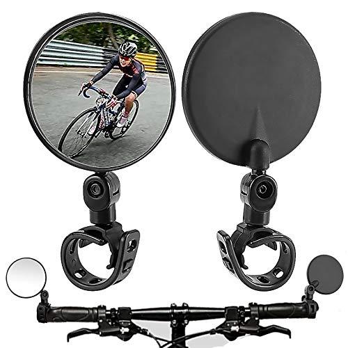 Bike Mirror,Bicycle mirrors for handlebars,360 Rotatable Handlebar Bike Rearview Mirrors,Upgrade Acrylic Shockproof Convex Mirror for Road Bike/MTB/Off-Road Bike/Fixed Gear Bike Handlebar (Black 2-pc)