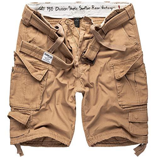 DELTA Division Herren Cargo Shorts Kurze Hose Vintage Bermuda 100% Baumwolle Mit Gürtel, Beige - Oliv - Schwarz - Weiß - S M L XL XXL 3XL 4XL 5XL 6XL 7XL, Größe:6XL, Farbe:Beige (14)