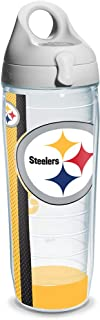 Tervis NFL Pittsburgh Steelers Wrap Individual Water Bottle with Gray Lid, 24 oz, Clear - 1104646