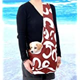 New Stylish Brown and White Art Pattern Outward Pet Sling Style Dog Cat Carrier - Medium by Kakato