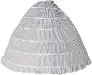 002 - Plus Size Ball Gown Tiers 6 Hoops Floor Length Wedding Crinoline Petticoat White
