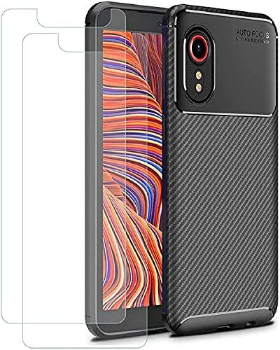TLING Cover per Samsung Galaxy Xcover 5 + 2 Pezzi Pellicola Vetro Temperato, Fibra di Carbonio Custodia in Silicone TPU Antiurto Protettiva Case per Samsung Galaxy Xcover 5, Nero